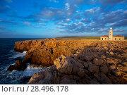 Купить «Menorca Punta Nati Faro lighthouse in Ciutadella Balearic Islands of Spain», фото № 28496178, снято 24 мая 2013 г. (c) Ingram Publishing / Фотобанк Лори