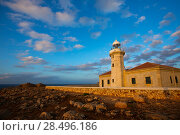 Купить «Menorca Punta Nati Faro lighthouse in Ciutadella Balearic Islands of Spain», фото № 28496186, снято 24 мая 2013 г. (c) Ingram Publishing / Фотобанк Лори