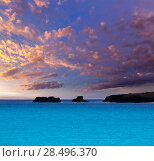 Купить «Menorca Son Saura beach sunset in Ciutadella turquoise color at Balearic islands», фото № 28496370, снято 25 мая 2013 г. (c) Ingram Publishing / Фотобанк Лори
