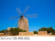 Купить «Formentera Windmill wind mill vintage masonry and wood in Mediterranean Balearic islands», фото № 28496602, снято 16 октября 2018 г. (c) Ingram Publishing / Фотобанк Лори