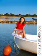 Купить «Kid girl pretending to be a sailor in boat bow at Formentera Balearic Islands», фото № 28496606, снято 22 января 2019 г. (c) Ingram Publishing / Фотобанк Лори