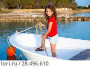 Купить «Kid girl pretending to be a sailor in boat bow at Formentera Balearic Islands», фото № 28496610, снято 17 декабря 2018 г. (c) Ingram Publishing / Фотобанк Лори