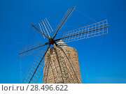 Купить «Formentera Windmill wind mill vintage masonry and wood in Mediterranean Balearic islands», фото № 28496622, снято 16 октября 2018 г. (c) Ingram Publishing / Фотобанк Лори
