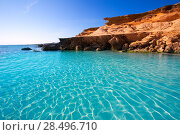 Купить «Formentera Es Calo des Mort beach turquoise Mediterranean at Mitjorn of balearic islands», фото № 28496710, снято 29 июня 2013 г. (c) Ingram Publishing / Фотобанк Лори