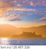 Купить «Alcatraz island penitentiary at sunset backlight in san Francisco California USA», фото № 28497326, снято 20 апреля 2013 г. (c) Ingram Publishing / Фотобанк Лори