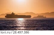 Купить «Alcatraz island penitentiary at sunset and merchant ship in san Francisco California USA», фото № 28497386, снято 20 апреля 2013 г. (c) Ingram Publishing / Фотобанк Лори