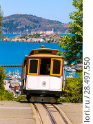 Купить «San francisco Hyde Street Cable Car Tram of the Powell-Hyde in California USA», фото № 28497550, снято 20 апреля 2013 г. (c) Ingram Publishing / Фотобанк Лори