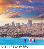 San Francisco view from Golden Gate Bridge sailing regatta in California USA (2013 год). Стоковое фото, фотограф Tono Balaguer / Ingram Publishing / Фотобанк Лори