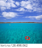 Купить «Formentera Illetes Illetas with round buoy view from sea at Balearic Islands», фото № 28498062, снято 3 июня 2013 г. (c) Ingram Publishing / Фотобанк Лори