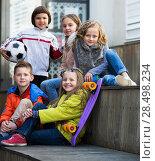 Купить «Portrait of junior school kids», фото № 28498234, снято 22 сентября 2018 г. (c) Яков Филимонов / Фотобанк Лори