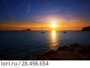 Купить «Ibiza sunset from Cala Conta Comte in San Jose at Balearic Islands Spain», фото № 28498654, снято 6 июня 2013 г. (c) Ingram Publishing / Фотобанк Лори