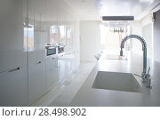 Купить «Modern white kitchen perspective with integrated bench sink and spring faucet», фото № 28498902, снято 29 февраля 2008 г. (c) Ingram Publishing / Фотобанк Лори