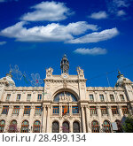 Купить «Correos building in Valencia in Plaza Ayuntamiento downtown at Spain», фото № 28499134, снято 22 апреля 2019 г. (c) Ingram Publishing / Фотобанк Лори