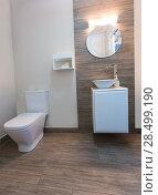 Купить «Bathroom toilet with round mirror modern indoor with ceramic stone», фото № 28499190, снято 18 ноября 2013 г. (c) Ingram Publishing / Фотобанк Лори