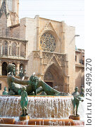Купить «Valencia Plaza de la virgen square with Neptuno fountain and Cathedral at Spain», фото № 28499270, снято 10 сентября 2008 г. (c) Ingram Publishing / Фотобанк Лори