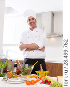 Купить «Chef male portrait on white countertop with food at kitchen», фото № 28499762, снято 9 февраля 2014 г. (c) Ingram Publishing / Фотобанк Лори