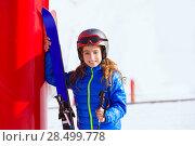 Купить «Kid girl winter snow with ski equipment helmet goggles poles», фото № 28499778, снято 26 января 2014 г. (c) Ingram Publishing / Фотобанк Лори