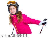 Купить «Kid girl with ski poles helmet and goggles smiling on white background», фото № 28499818, снято 1 февраля 2014 г. (c) Ingram Publishing / Фотобанк Лори