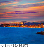 Купить «Benidorm Alicante sunset playa de Poniente beach in Spain Valencian community», фото № 28499978, снято 21 января 2014 г. (c) Ingram Publishing / Фотобанк Лори