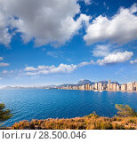 Benidorm skyline Levante beach in blue Mediterranean Alicante Spain (2014 год). Стоковое фото, фотограф Tono Balaguer / Ingram Publishing / Фотобанк Лори