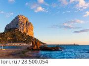 Купить «Calpe Alicante sunset at beach Cantal Roig in Mediterranean Spain», фото № 28500054, снято 23 января 2014 г. (c) Ingram Publishing / Фотобанк Лори