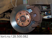 Купить «Car wheel brake rusty disc with pads rotor disc and caliper assembly», фото № 28500082, снято 26 октября 2013 г. (c) Ingram Publishing / Фотобанк Лори
