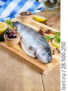 Купить «Raw trout on the chopping board with lemon and spices», фото № 28500250, снято 20 марта 2013 г. (c) Ingram Publishing / Фотобанк Лори