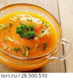 Купить «Homemade Thanksgiving Pumpkin Soup in glass Bowl. Healthy eating concept.», фото № 28500510, снято 30 ноября 2013 г. (c) Ingram Publishing / Фотобанк Лори