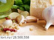 Купить «Raw ingredients for pasta pesto on white kitchen table», фото № 28500558, снято 24 августа 2019 г. (c) Ingram Publishing / Фотобанк Лори