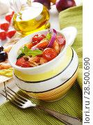 Купить «Seafood spaghetti pasta pot with shrimps and cherry tomatoes», фото № 28500690, снято 26 апреля 2019 г. (c) Ingram Publishing / Фотобанк Лори