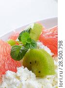 Купить «Cottage cheese in bowl with kiwi grapefruit and mint», фото № 28500798, снято 24 апреля 2013 г. (c) Ingram Publishing / Фотобанк Лори