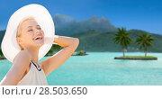 Купить «beautiful woman enjoying summer bora bora beach», фото № 28503650, снято 19 июня 2013 г. (c) Syda Productions / Фотобанк Лори