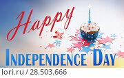 Купить «cupcake with candle on american independence day», фото № 28503666, снято 28 мая 2015 г. (c) Syda Productions / Фотобанк Лори