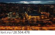 Купить «Barcelona cityscape in evening with a modern apartment buildings, Spain», видеоролик № 28504478, снято 28 марта 2018 г. (c) Яков Филимонов / Фотобанк Лори