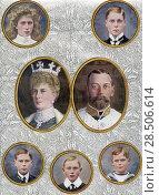 Купить «The British Royal Family in 1910. From top left, Princess Mary, Princess Royal and Countess of Harewood,1897-1965. The Prince of Wales, later Edward VIII...», фото № 28506614, снято 21 января 2019 г. (c) age Fotostock / Фотобанк Лори
