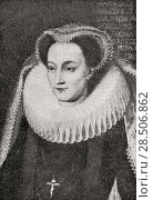 Купить «Mary, Queen of Scots, 1542-1587, aka Mary Stuart or Mary I of Scotland. Queen regnant of Scotland and queen consort of France. From A First Book of British History published 1925.», фото № 28506862, снято 26 марта 2019 г. (c) age Fotostock / Фотобанк Лори