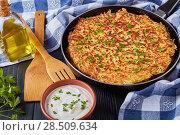 Купить «close-up of a swiss rosti or potato pancake», фото № 28509634, снято 21 мая 2018 г. (c) Oksana Zh / Фотобанк Лори