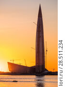 Купить «Skyscraper Lahta center on the shore of the Gulf of Finland at sunset. St. Petersburg. Russia», фото № 28511234, снято 28 мая 2018 г. (c) Ольга Визави / Фотобанк Лори