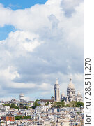 Купить «Basilica of Sacred Heart Sacre-Cur on background of skyscape with cloudes», фото № 28511270, снято 20 мая 2015 г. (c) Ирина Мойсеева / Фотобанк Лори