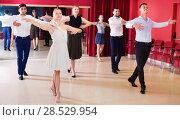 People practicing passionate samba in dance class. Стоковое фото, фотограф Яков Филимонов / Фотобанк Лори