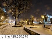 Купить «Night winter Lviv city, Ukraine», фото № 28530570, снято 4 февраля 2018 г. (c) Юрий Брыкайло / Фотобанк Лори