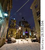Купить «Night winter Lviv city, Ukraine», фото № 28530594, снято 4 февраля 2018 г. (c) Юрий Брыкайло / Фотобанк Лори