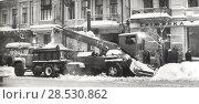 Купить «Уборка снега с помощью снегоуборщика. 1970-е годы», фото № 28530862, снято 19 января 2019 г. (c) Retro / Фотобанк Лори