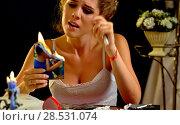 Купить «Wedding memories. Broken heart woman. Family break up.», фото № 28531074, снято 21 июля 2018 г. (c) Gennadiy Poznyakov / Фотобанк Лори
