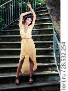 Купить «Portrait of a beautiful young woman, model of fashion, in a garden stairs», фото № 28532254, снято 20 мая 2012 г. (c) Ingram Publishing / Фотобанк Лори