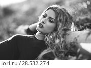 Купить «Close-up portrait of blong woman in rural background. Relaxed girl lying on the field with long curly hair. Black and white photograph», фото № 28532274, снято 17 ноября 2015 г. (c) Ingram Publishing / Фотобанк Лори