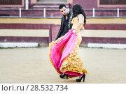 Купить «Portrait of a pretty couple, models of fashion, in a bullring. Spanish style», фото № 28532734, снято 15 декабря 2013 г. (c) Ingram Publishing / Фотобанк Лори