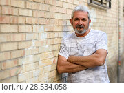 Купить «Mature man smiling at camera in urban background. Senior male with white hair and beard wearing casual clothes.», фото № 28534058, снято 9 июля 2017 г. (c) Ingram Publishing / Фотобанк Лори