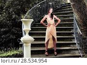 Купить «Portrait of a beautiful young woman, model of fashion, in a garden stairs», фото № 28534954, снято 20 мая 2012 г. (c) Ingram Publishing / Фотобанк Лори