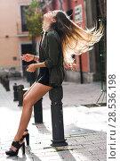 Купить «Portrait of blonde girl moving her amazing long hair», фото № 28536198, снято 15 ноября 2014 г. (c) Ingram Publishing / Фотобанк Лори